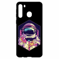 Чехол для Samsung A21 Astronaut with donut and pizza