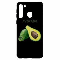 Чехол для Samsung A21 Avocado watercolor