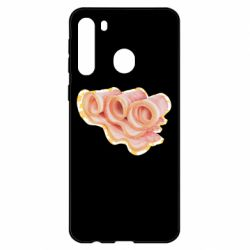 Чехол для Samsung A21 Bacon with flowers on the background