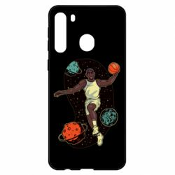 Чехол для Samsung A21 Basketball player and space