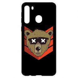 Чехол для Samsung A21 Bear with glasses