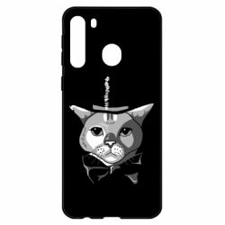 Чехол для Samsung A21 Black and white cat intellectual