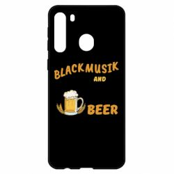 Чехол для Samsung A21 Black music and bear you can call me sir