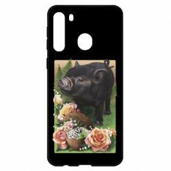 Чехол для Samsung A21 Black pig and flowers