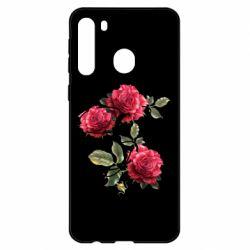 Чехол для Samsung A21 Буква Е с розами