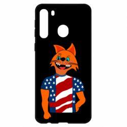 Чехол для Samsung A21 Cat in American Flag T-shirt