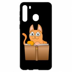 Чехол для Samsung A21 Cat in glasses with a book