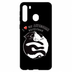 Чехол для Samsung A21 Cats with red heart