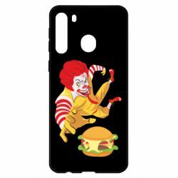 Чехол для Samsung A21 Clown in flight with a burger
