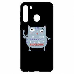 Чехол для Samsung A21 Cute cat and text