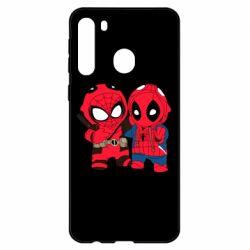 Чехол для Samsung A21 Дэдпул и Человек паук
