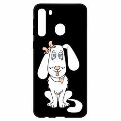 Чехол для Samsung A21 Dog with a bow