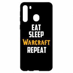 Чехол для Samsung A21 Eat sleep Warcraft repeat