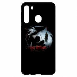 Чехол для Samsung A21 Emblem wolf and text The Witcher