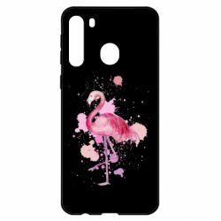 Чехол для Samsung A21 Flamingo pink and spray