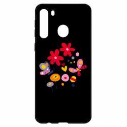 Чехол для Samsung A21 Flowers and Butterflies