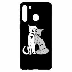 Чехол для Samsung A21 Fox and cat heart