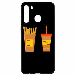 Чехол для Samsung A21 French fries and cocktail flat vector