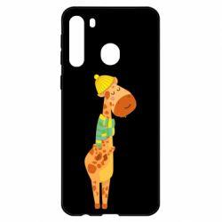 Чехол для Samsung A21 Giraffe in a scarf
