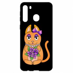 Чехол для Samsung A21 Girl cat with flowers