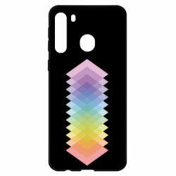Чехол для Samsung A21 Gradient color transition rhombus