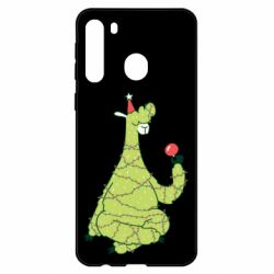 Чехол для Samsung A21 Green llama with a garland