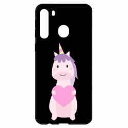 Чехол для Samsung A21 Happy unicorn with a heart