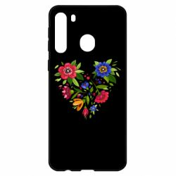 Чехол для Samsung A21 Heart made of flowers vector