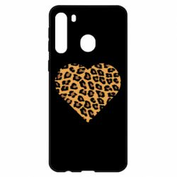 Чехол для Samsung A21 Heart with leopard hair