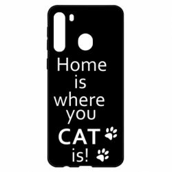 Чехол для Samsung A21 Home is where your Cat is!