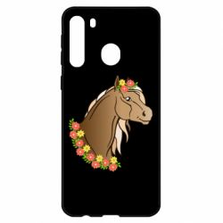 Чехол для Samsung A21 Horse and flowers art