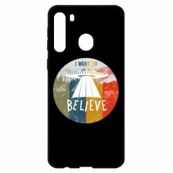 Чехол для Samsung A21 I want to believe text