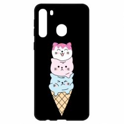 Чехол для Samsung A21 Ice cream kittens