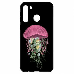 Чехол для Samsung A21 Jellyfish and flowers