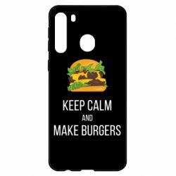 Чехол для Samsung A21 Keep calm and make burger