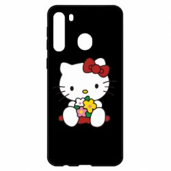 Чехол для Samsung A21 Kitty с букетиком