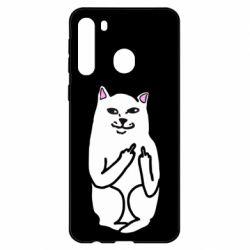 Чехол для Samsung A21 Кот с факом
