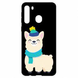 Чехол для Samsung A21 Llama in a blue hat