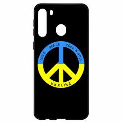 Чехол для Samsung A21 Love,peace, rock'n'roll, Ukraine