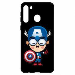 Чехол для Samsung A21 Маленький Капитан Америка