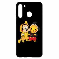 Чехол для Samsung A21 Mickey and Pikachu