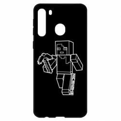 Чехол для Samsung A21 Minecraft and hero nickname