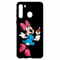 Чехол для Samsung A21 Minnie Mouse and Ice Cream