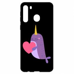Чехол для Samsung A21 Narwhal with a heart