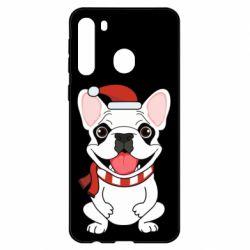 Чехол для Samsung A21 New Year's French Bulldog