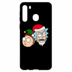 Чехол для Samsung A21 New Year's Rick and Morty