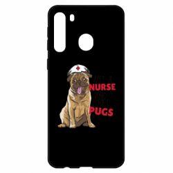 Чехол для Samsung A21 Nurse loves pugs