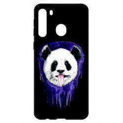 Чехол для Samsung A21 Panda on a watercolor stain