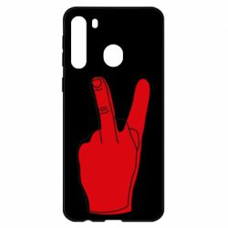 Чехол для Samsung A21 Peace and middle finger