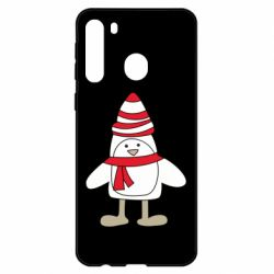 Чехол для Samsung A21 Penguin in the hat and scarf